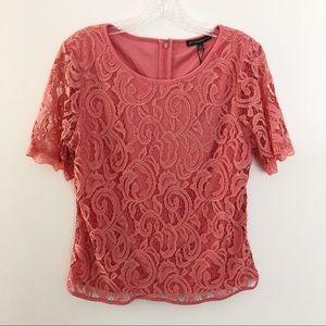 Adrianna Papell Short Sleeve Lace Top Peach Medium
